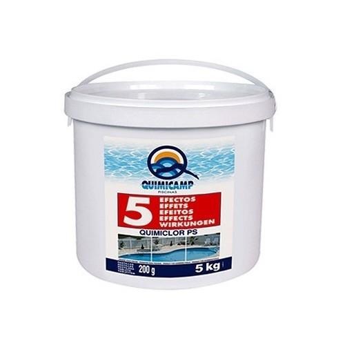 5 ACCIONES TRATAMIENTO 5 kg Pastillas piscinas desmontables